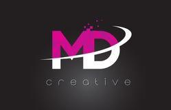 DM M D Creative Letters Design avec les couleurs roses blanches illustration stock