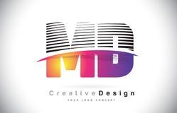 DM M D Letter Logo Design With Creative Lines et Swosh dans Purpl Images libres de droits
