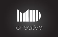DM M D Letter Logo Design With White et lignes noires Photos stock