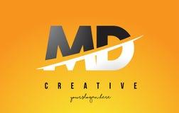 DM M D Letter Modern Logo Design avec le fond jaune et le Swoo illustration stock