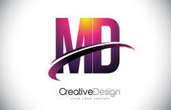 DM M D Purple Letter Logo avec la conception de bruissement Magenta créatif M Image stock