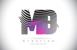 DM M D Zebra Texture Letter Logo Design With Creative Lines et illustration de vecteur