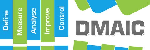 DMAIC Green Blue Abstract Shapes Horizontal. DMAIC concept image with text and related words vector illustration