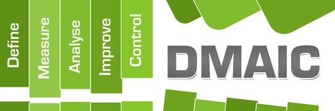 DMAIC Green Stripes Text. DMAIC concept image with text and related words stock illustration