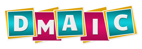 DMAIC Turquoise Pink Squares. DMAIC text alphabets written over turquoise pink background royalty free illustration