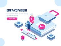 DMCA data copyright isometric icon, content security, book with lock, electronic digital contract, young man with laptop. Pc, flat cartoon vector illustration royalty free illustration
