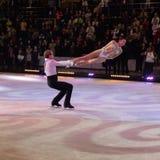 Dmitri Sukhanov and Fiona Zaldura. Figure skating on ice at Kings on Ice Olympic Gala 2014 Royalty Free Stock Image