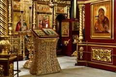 Dmitrov Ryssland - mars 10 2018 Inomhus Borisoglebsky manlig kloster Arkivbild