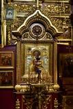 Dmitrov Ryssland - mars 10 2018 symbol av St Nicholas i Borisoglebsky mankloster Arkivfoto