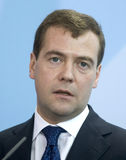 Dmitry Medvedev. Russian President Dmitry Medvedev attends a news conference in Berlin Stock Images