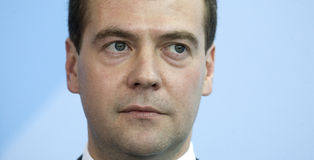 Dmitry Medvedev. Russian President Dmitry Medvedev attends a news conference in Berlin Royalty Free Stock Photo