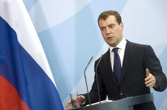 Dmitry Medvedev. Russian President Dmitry Medvedev attends a news conference in Berlin Stock Photo