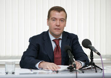 Dmitry Medvedev. Now newly elected Russian President and then the Russia's First Deputy Prime Minister, attends a press-conference on his visit to the Russian Royalty Free Stock Image