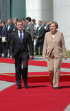 Dmitry Medvedev, Angela Merkel Stock Photos