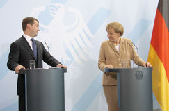 Dmitry Medvedev (Dmitri Medwedew), Chancellor Angela Merkel Royalty Free Stock Photo