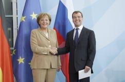 Dmitry Medvedev (Dmitri Medwedew), Chancellor Angela Merkel. JUNE 5, 2008 - BERLIN: Chancellor Angela Merkel, Russian president Dmitry Medvedev (Dmitri Medwedew Stock Image
