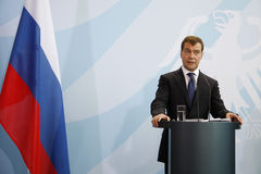 Dmitry Medvedev (Dmitri Medwedew). JUNE 5, 2008 - BERLIN: Russian president Dmitry Medvedev (Dmitri Medwedew) at a press conference after a meeting with the Stock Photography
