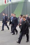 Dmitry Medvedev and Oleg Sienko. NIZHNY TAGIL, RUSSIA - SEP 26: Prime Minister Dmitry Medvedev and General Director Uralvagonzavod Oleg Sienko at the exhibition Stock Photos