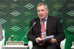 Dmitry Rogozin. NIZHNY TAGIL, RUSSIA - SEP 25: Dmitry Rogozin -  Deputy Prime Minister of Russia at the exhibition RUSSIA ARMS EXPO (RAE-2013) on September, 25 Royalty Free Stock Images