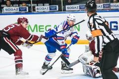 Dmitry Shulenin L, Andrei Kuzmenko C und Timur Bilyalov R, während Kontinental-Hockey-Liga KHL 2018/2019 Jahreszeitspiel Lärm stockbild
