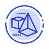 3dModel,3d,箱子,三角蓝色虚线线象 皇族释放例证