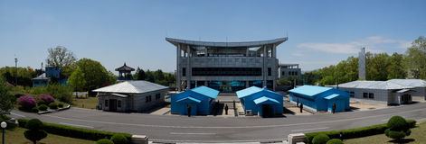 DMZ (Panmunjom) Panorama, House of Freedom as seen from DPRK Royalty Free Stock Images