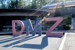 AUG, 2012 Signpost DMZ: DMZ Pavillion in Southkorea royalty free stock photo