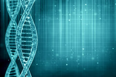 DNA κυττάρων στο μπλε υπόβαθρο Στοκ Φωτογραφία