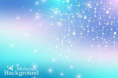 DNA μορίων δομών Άτομο Υπόβαθρο μορίων και επικοινωνίας για την ιατρική, επιστήμη, τεχνολογία, χημεία ελεύθερη απεικόνιση δικαιώματος