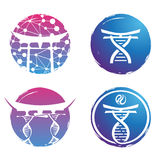 DNA σχεδίου λογότυπων απεικόνισης ζωηρόχρωμο στο άσπρο υπόβαθρο Στοκ Φωτογραφία