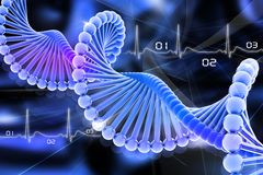 Dna. 3d dna in color background Stock Photography