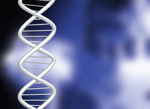 Dna. Over a blurred medical illustration in blue and black Stock Image