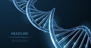 DNA. Abstract 3d polygonal wireframe DNA molecule helix spiral on blue. Medical science, genetic biotechnology, chemistry biology, gene cell concept vector royalty free illustration