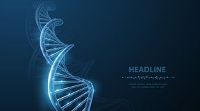 Dna Abstrakt polygonal för DNAmolekyl för wireframe 3d spiral för spiral på blått Royaltyfri Illustrationer
