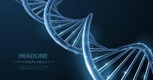 DNA Abstrakte polygonale wireframe 3d DNA-Molekülschneckenspirale auf Blau lizenzfreie abbildung