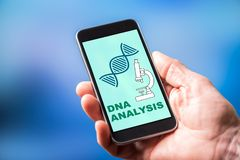 Dna analysis concept on a smartphone. Smartphone screen displaying a dna analysis concept royalty free stock photos