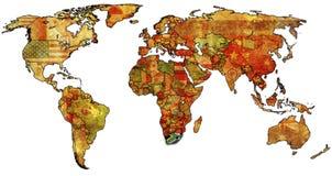 DNA auf Karte der Welt Stockfotos