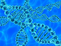 DNA azul (ácido desoxirribonucléico) con las ondas en fondo Imagenes de archivo