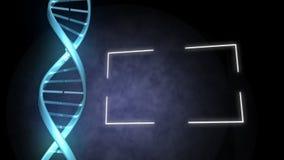 DNA azul al lado de un marco almacen de metraje de vídeo