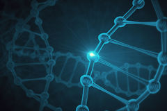 DNA background. Glowing tech DNA background. Medicine concept. 3D Rendering Stock Photos