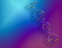 DNA & Binary Code. A DNA strand sits above a blue-purple field with genetic and binary code Stock Illustration