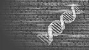 DNA binary code future computer technology concept. Genome science structure modified GMO engineering molecular symbol. Sign medicine coding gene banner Royalty Free Stock Photography