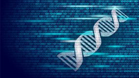 DNA binary code future computer technology concept. Genome science structure modified GMO engineering molecular symbol. Sign medicine coding gene banner stock illustration