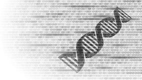 DNA binary code future computer technology concept. Genome science structure modified GMO engineering molecular symbol. Sign medicine coding gene banner Stock Photos