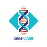 DNA-Biotechnologie - vector het conceptenillustratie van het embleemmalplaatje Medisch wetenschaps creatief symbool Menselijke bi royalty-vrije illustratie