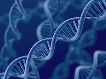 DNA on blue background. 3d render of DNA on blue background