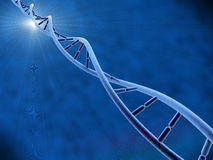 DNA with blue background. Illustration of DNA with background and light Royalty Free Stock Photos