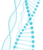 DNA Blue Glass. 3D rendering of DNA with a style of bluish glass Royalty Free Stock Photo