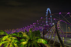 DNA bridge Bridge on the background of Singapore Royalty Free Stock Images