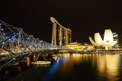 DNA Bridge Singapore. DNA Bridge with light on, marina bay, Singapore Stock Photo